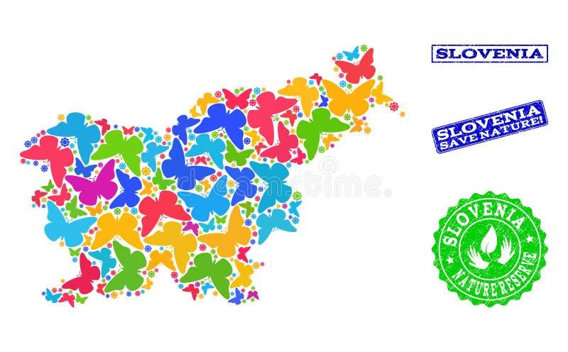 保存自然结构的斯洛文尼亚的地图有蝴蝶和困厄邮票的 皇族释放例证