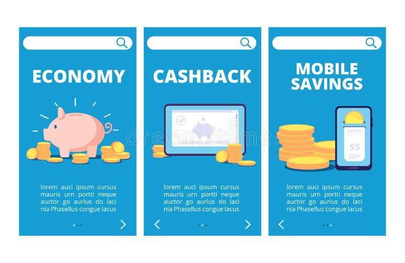 保存金钱流动应用程序页 银行业务和储款传染媒介横幅 库存例证