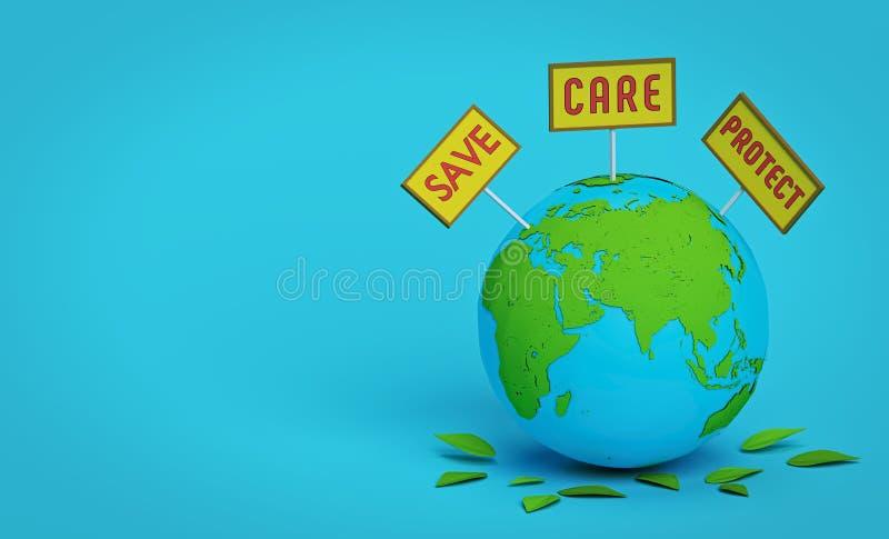 保存,关心并且保护地球 3d?? 皇族释放例证