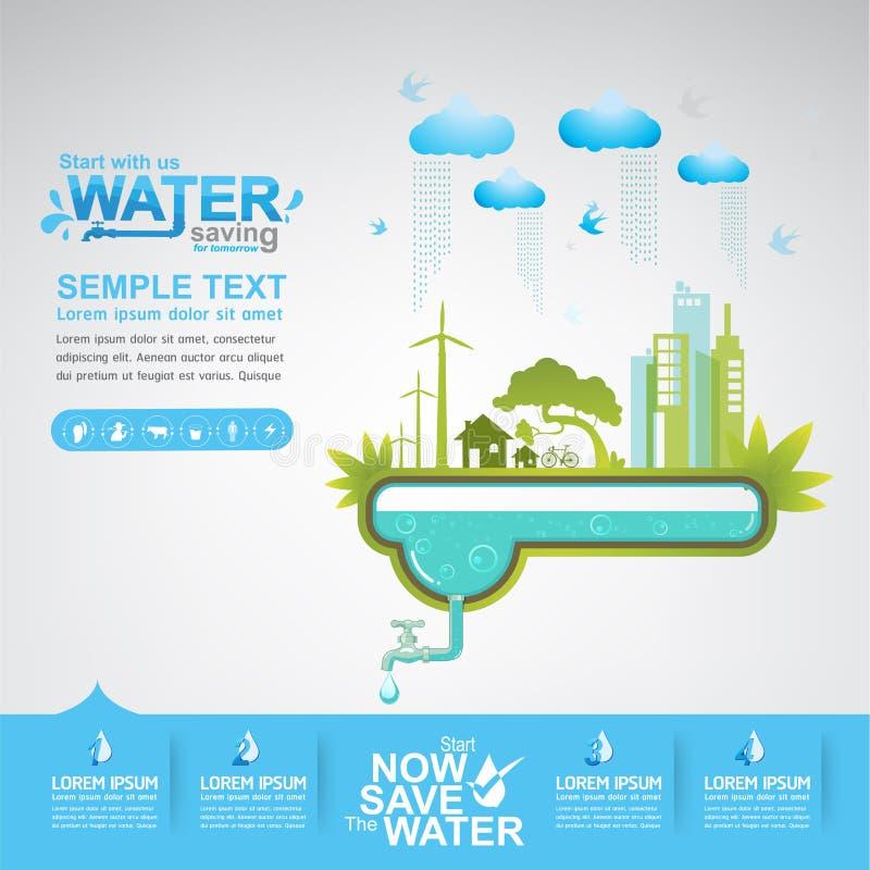 保存水传染媒介概念起动挽救 向量例证