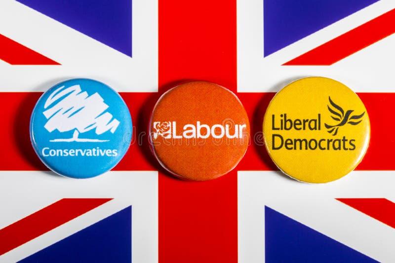 保守主义者、劳方和英国自由民主党 免版税库存图片