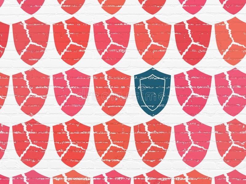 保密性概念:在墙壁背景的盾象 向量例证