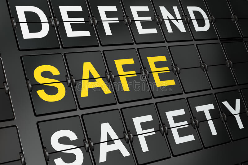 保密性概念:在机场板背景的保险柜 皇族释放例证