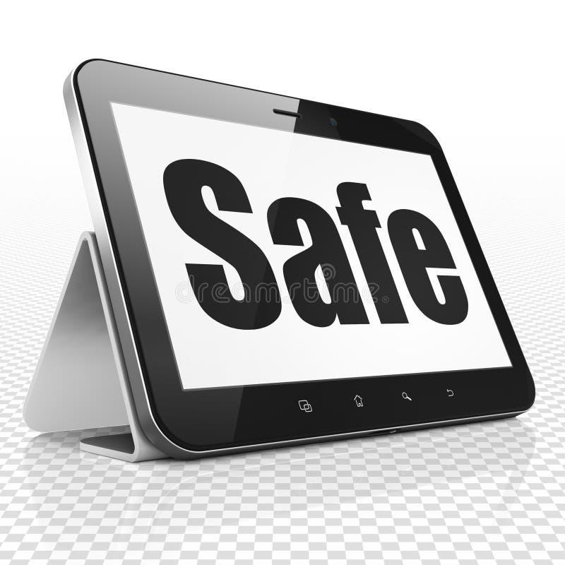 保密性概念:有保险柜的片剂计算机在显示 向量例证