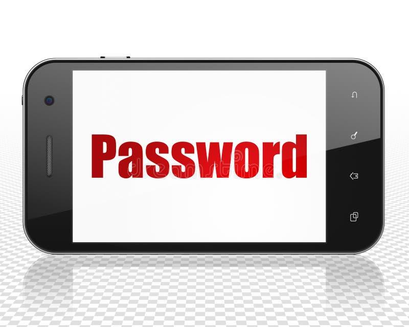 保密性概念:有密码的智能手机在显示 向量例证