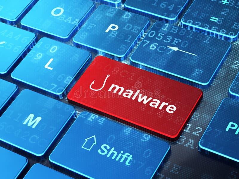 保密性概念:钓鱼钩和Malware在键盘背景 库存照片