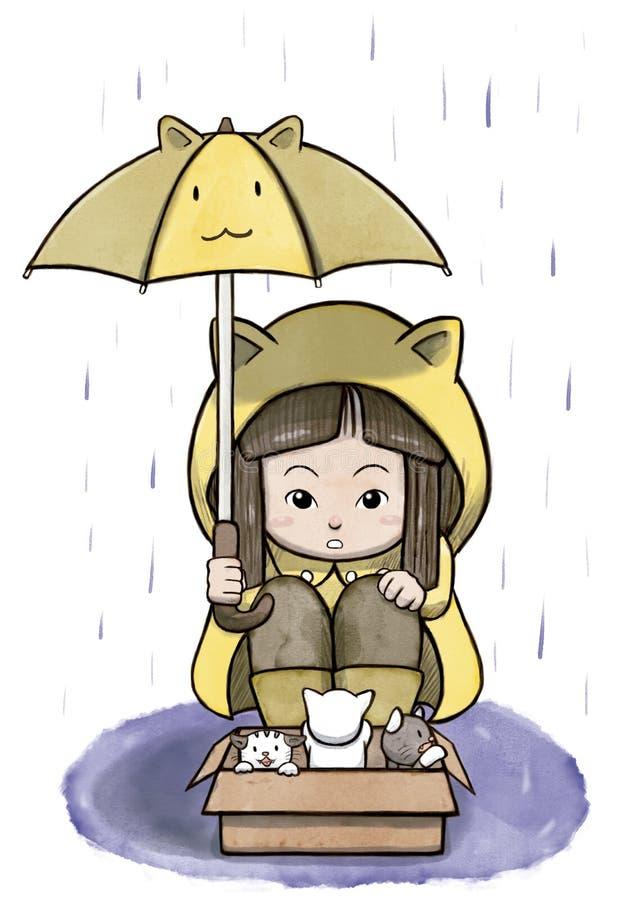 保护一个箱子被放弃的猫的女孩免受雨 皇族释放例证