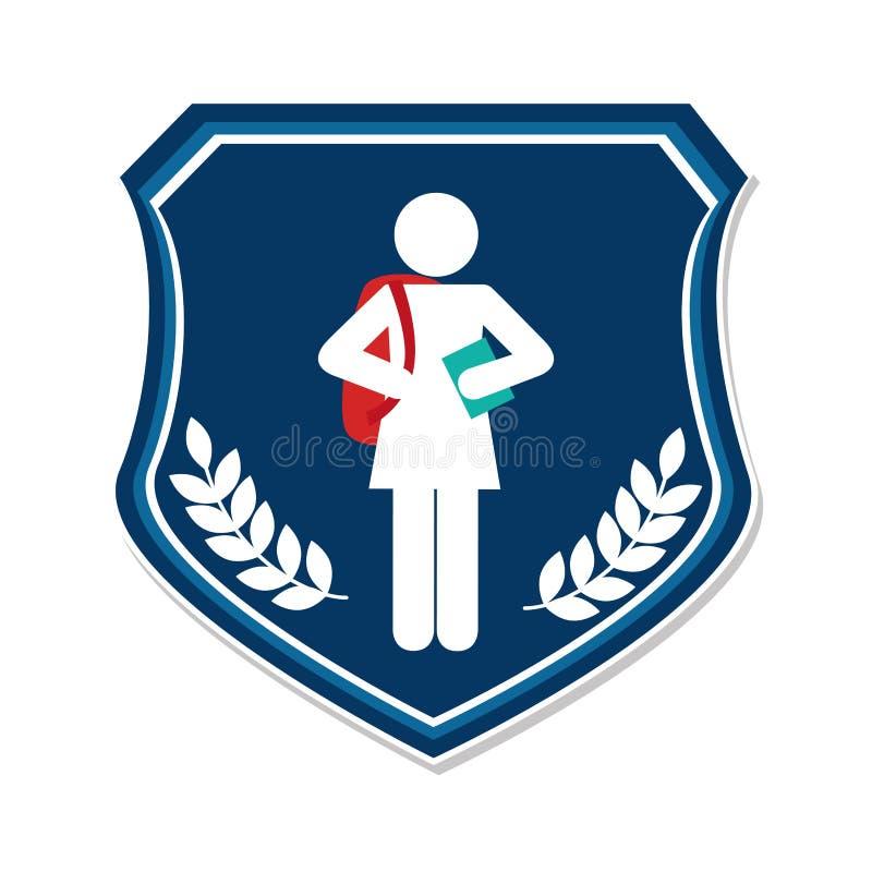 保护与剪影学生女孩和装饰叶子的象征 皇族释放例证