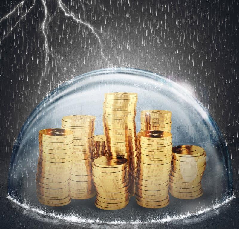 保护储蓄 保险和金钱保护的概念 3d翻译 免版税库存图片