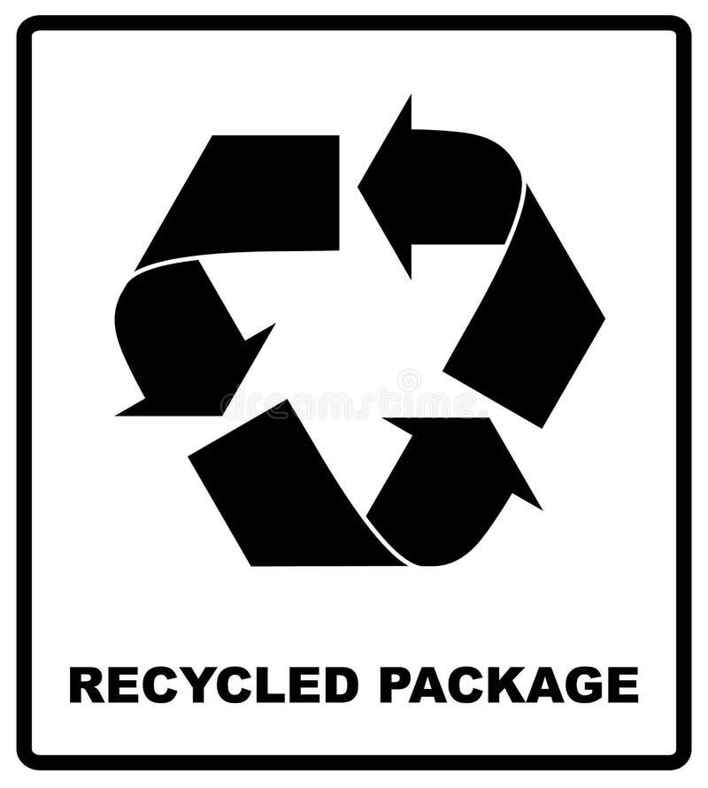 保护在白色背景隔绝的黑色象的被回收的包裹标志或标志 在包装的传染媒介标志 皇族释放例证