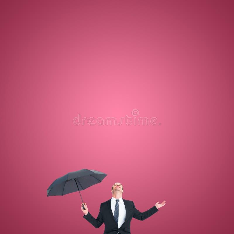 保护在黑伞测试下的商人的综合图象 库存图片