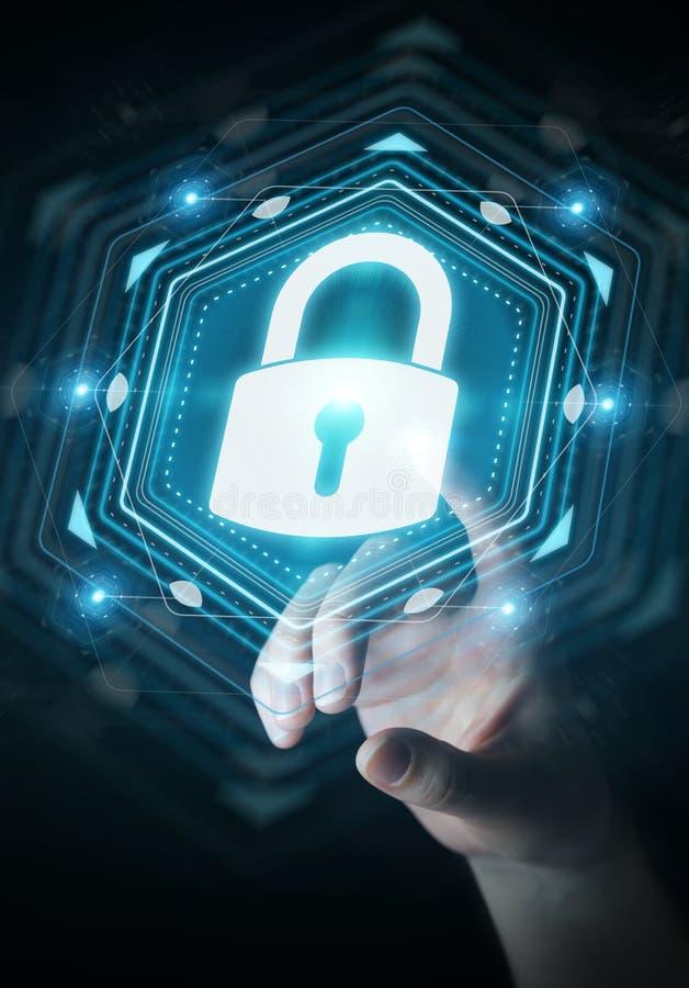 保护她的与安全接口3D的女实业家数据关于 库存例证