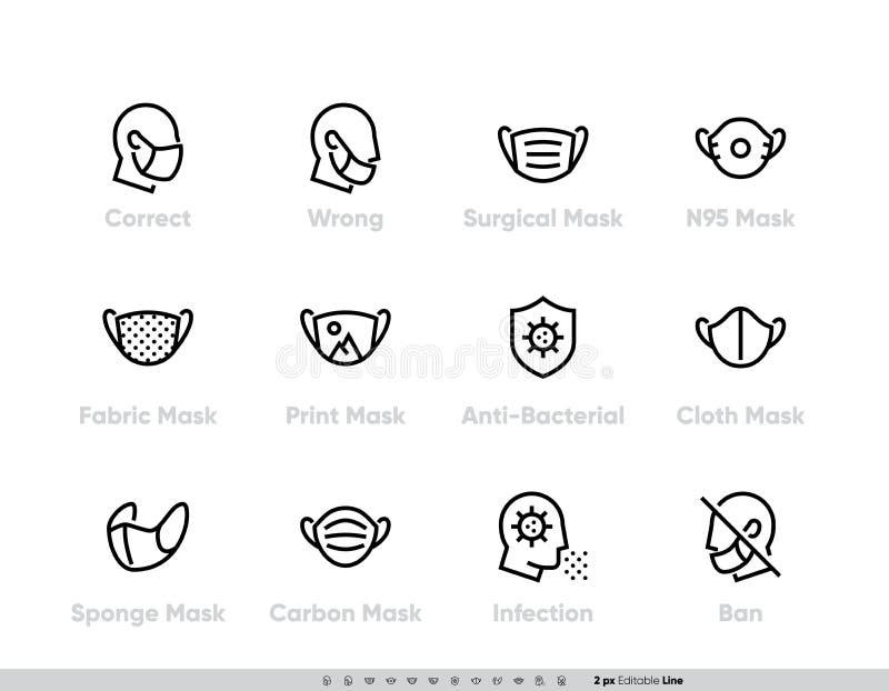 保护性医用面罩图标集 安全呼吸面罩手术、流感病毒疫情预防、工业安全