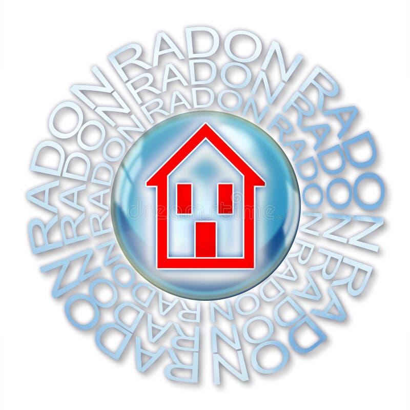 保护您在家免受氡气气体-与一个房子的剪影的概念例证在肥皂泡里面的 向量例证