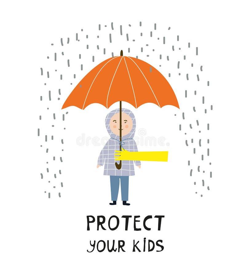 保护您的与孩子和雨-概念例证的孩子海报 向量例证