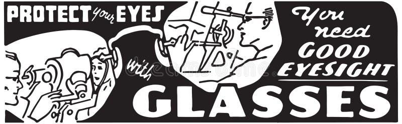 保护您的与玻璃的眼睛 皇族释放例证