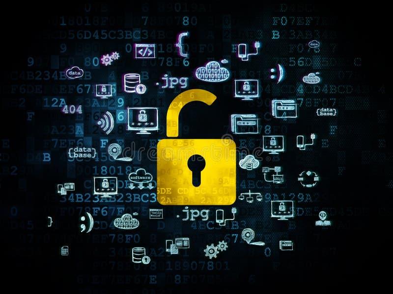 保护概念:在数字式被打开的挂锁 库存照片