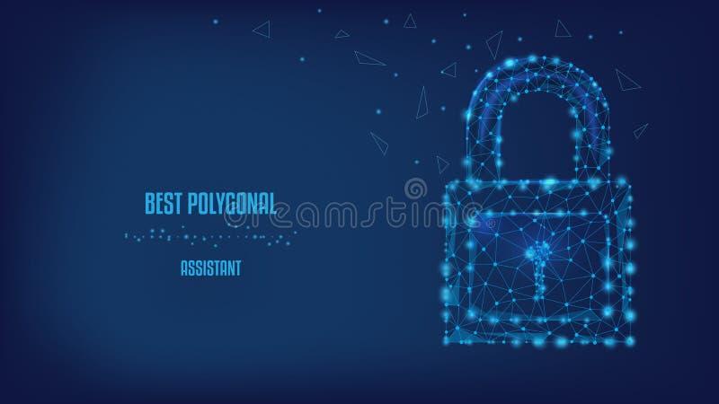 保护概念 信息和数据安全  从三角和光亮点的闭合的锁在美好的深蓝夜 向量例证