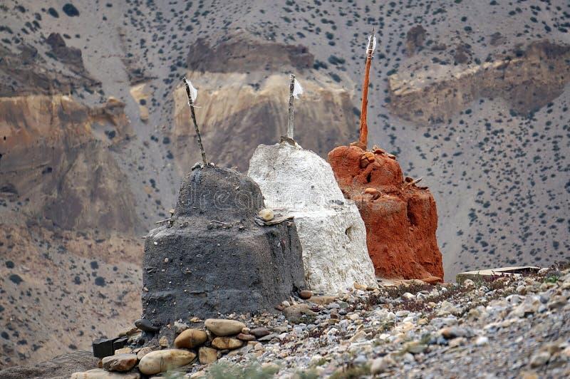 保护的佛教Chortens免受恶鬼 上部野马 尼泊尔 免版税库存照片