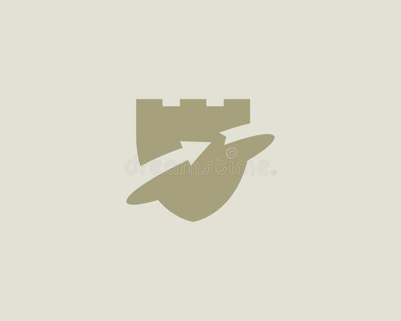 保护盾堡垒略写法 箭头起动成功传染媒介商标 皇族释放例证