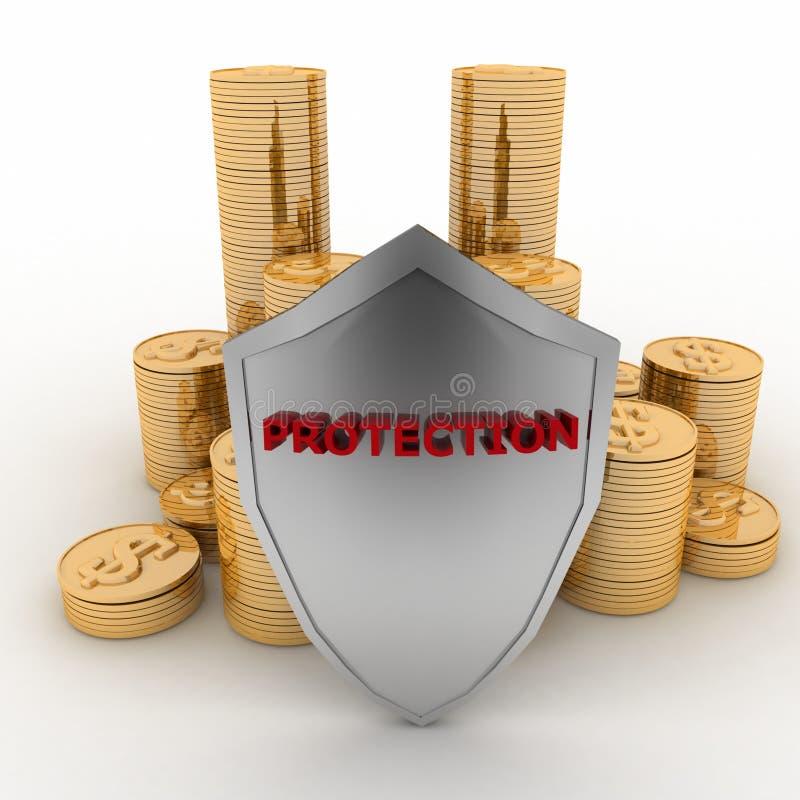 保护盾盖的堆硬币 皇族释放例证