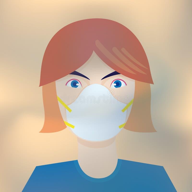 保护空气污染的妇女佩带的面具 库存例证