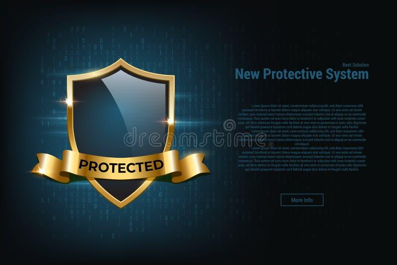 保护系统横幅模板 有金黄边界的传染媒介玻璃在深蓝背景的盾和丝带 库存例证