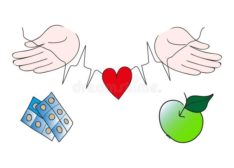 保护红色心脏,健康生活选择的手 库存例证