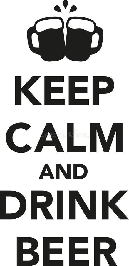 保持与杯子的镇静和饮料啤酒 库存例证