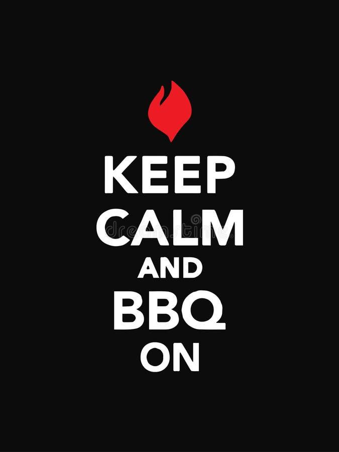 保持做一个巨大烤肉概念的安静和BBQ红色标志 库存例证