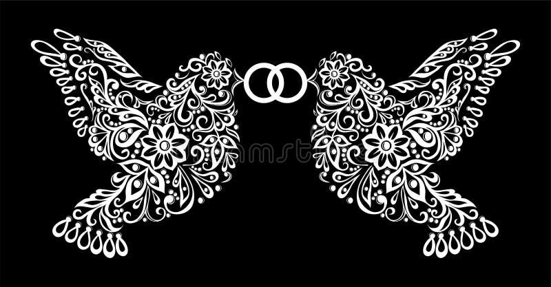 保持圆环被隔绝两只鸟的美丽的单色黑白剪影  我爱你 皇族释放例证