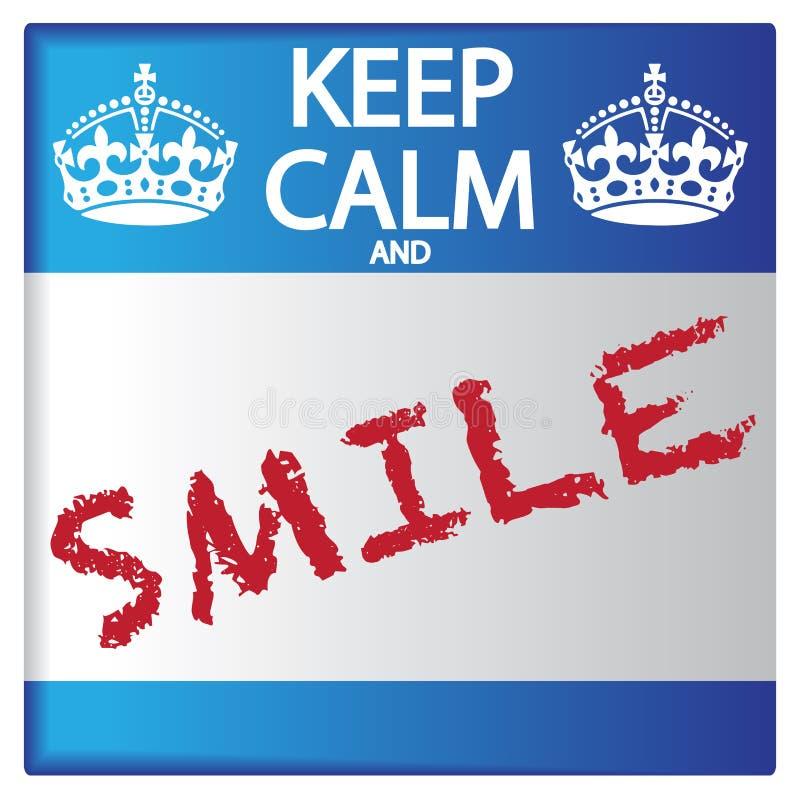 保持镇静和微笑贴纸 皇族释放例证