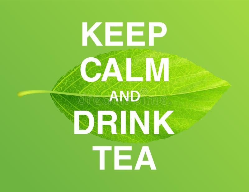 保持镇静和饮料茶 诱导海报 向量例证