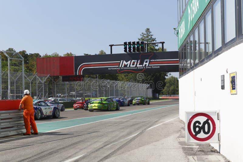 保时捷Carrera杯意大利小汽车赛 库存图片