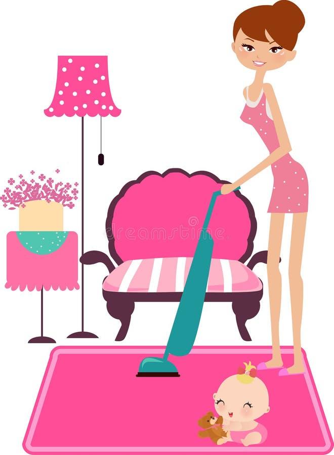 保留妇女的繁忙的房子 库存例证