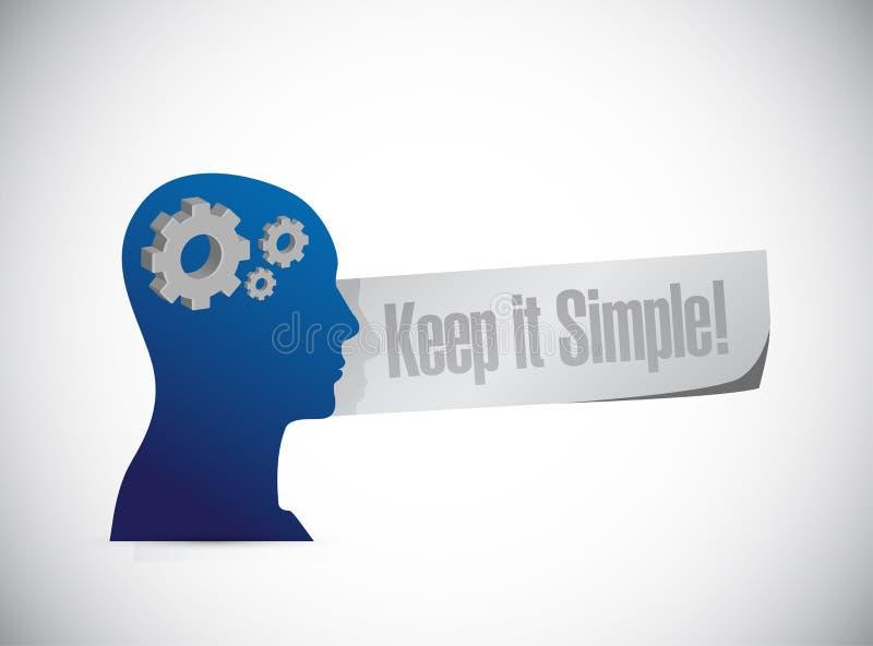 保留它简单的想法的概念标志 皇族释放例证