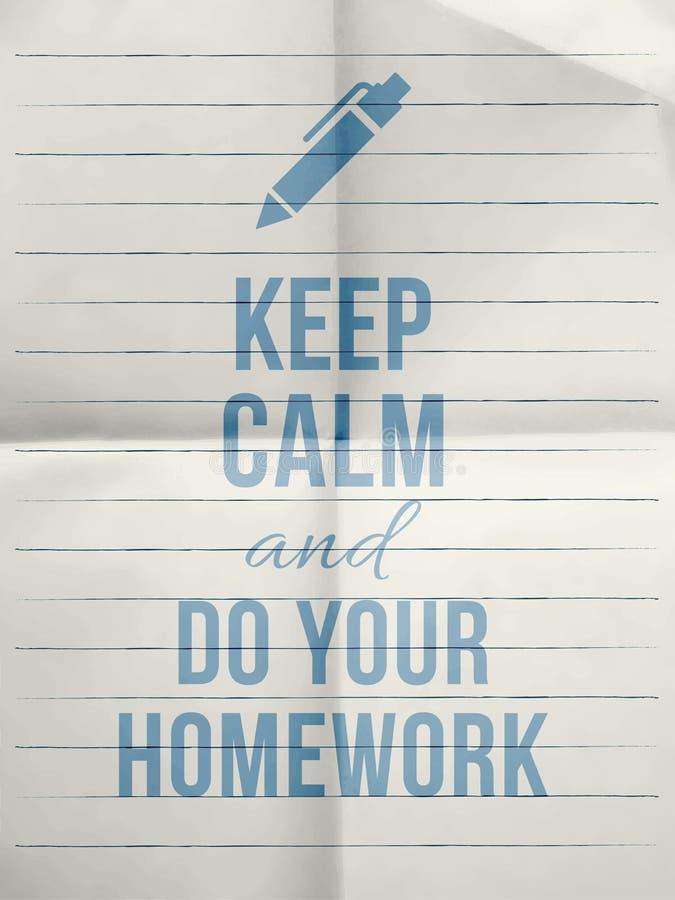 保留安静做您的与与笔象的家庭作业设计行情 向量例证