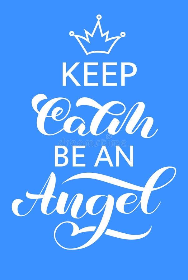 保留安静和是天使字法 横幅或海报的行情 r 皇族释放例证