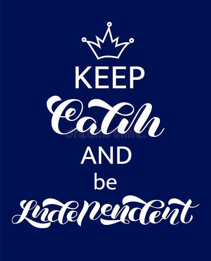 保留安静和是独立字法 横幅的词 r 库存例证