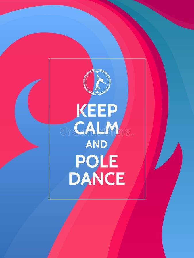 保留安静和杆舞蹈 在五颜六色的抽象背景的波兰人舞蹈诱导印刷术海报与波浪和装饰品 皇族释放例证