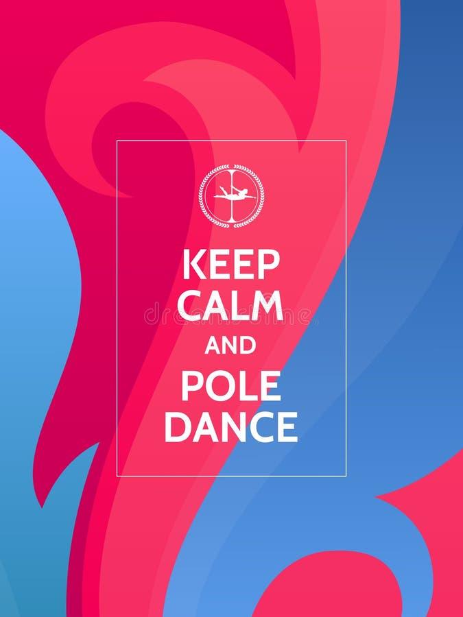 保留安静和杆舞蹈 在五颜六色的抽象背景的波兰人舞蹈诱导印刷术海报与波浪和装饰品 向量例证
