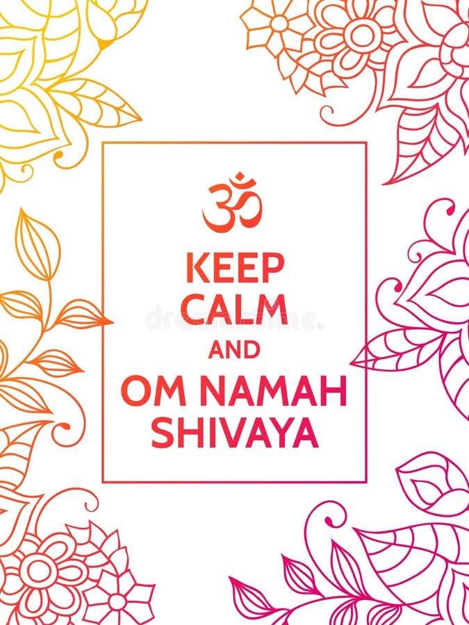保留安静和Om Namah Shivaya 在白色背景的Om佛经诱导印刷术海报与五颜六色花卉 皇族释放例证