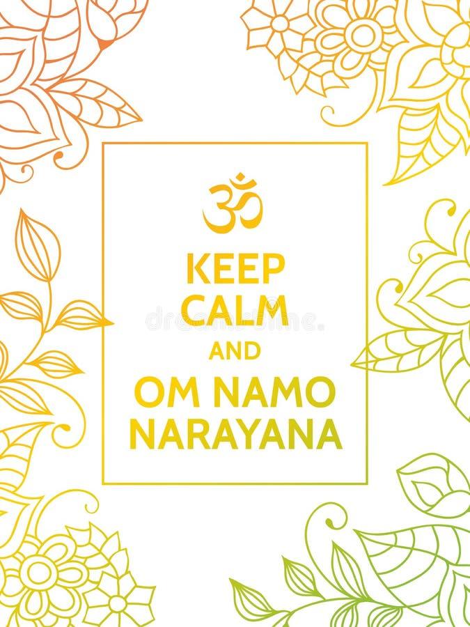 保留安静和Om namo narayana 库存例证