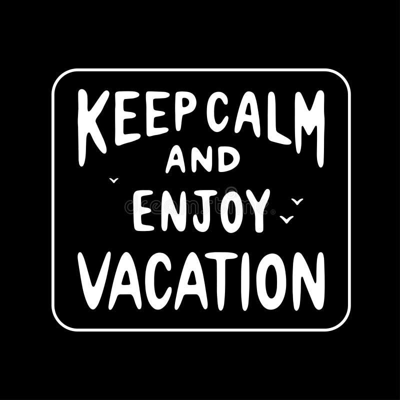 保留安静并且享受假期徽章 库存例证