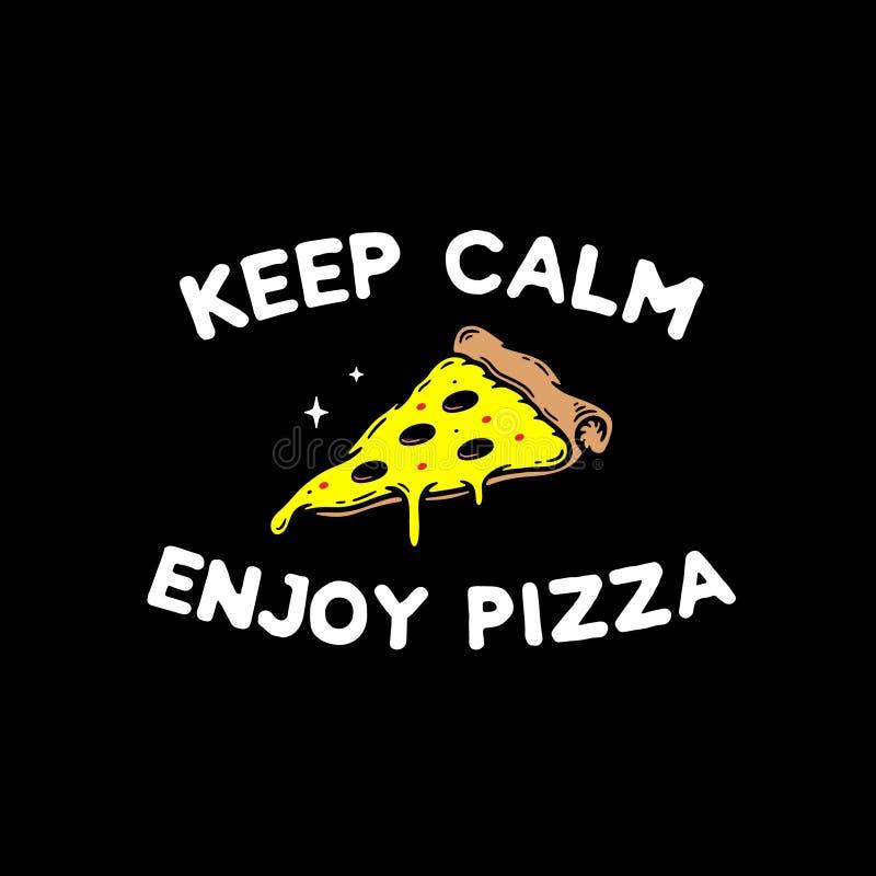 保留安静并且享受比萨徽章 向量例证