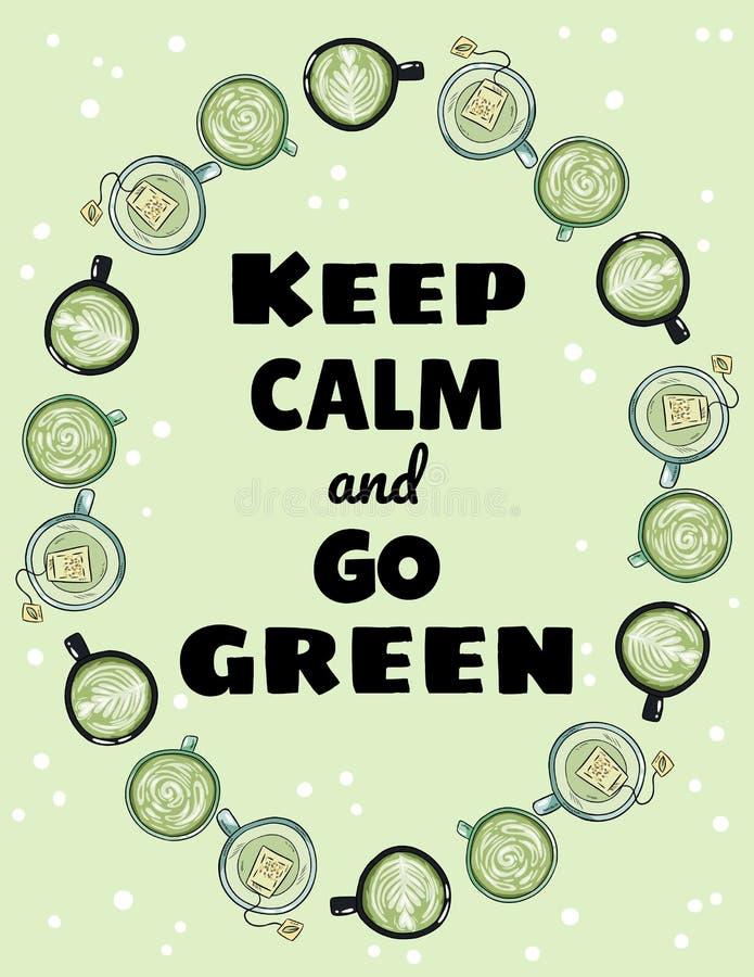 保留安静并且去绿色海报 杯绿茶和咖啡装饰品 手拉的动画片样式逗人喜爱的明信片 库存例证