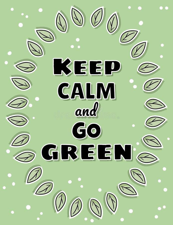 保留安静并且去绿色海报 生态和零废物刺激 Eco友好和塑料自由的生活 向量例证