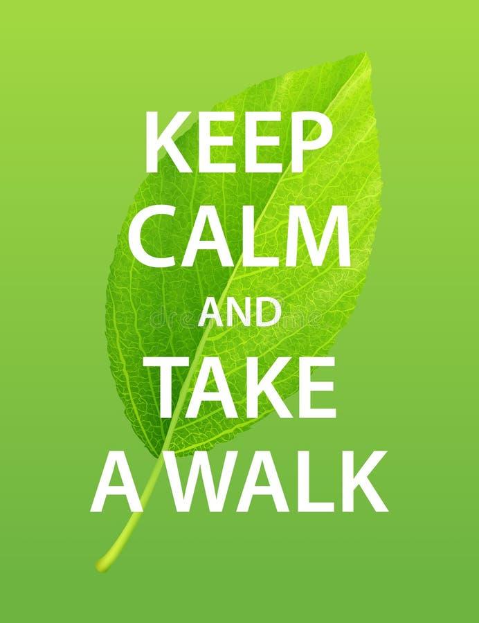 保留安静并且散步 概念查出的本质白色 库存例证