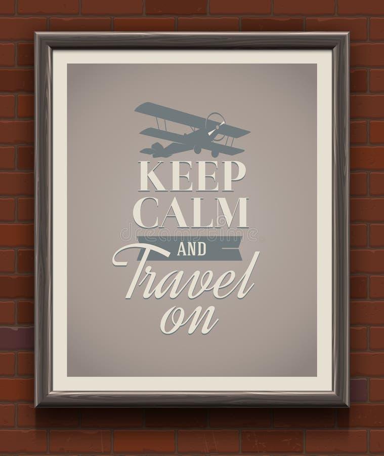 保留安静并且旅行在的葡萄酒海报 库存例证