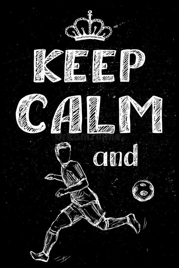 保留安静并且踢足球, 向量例证